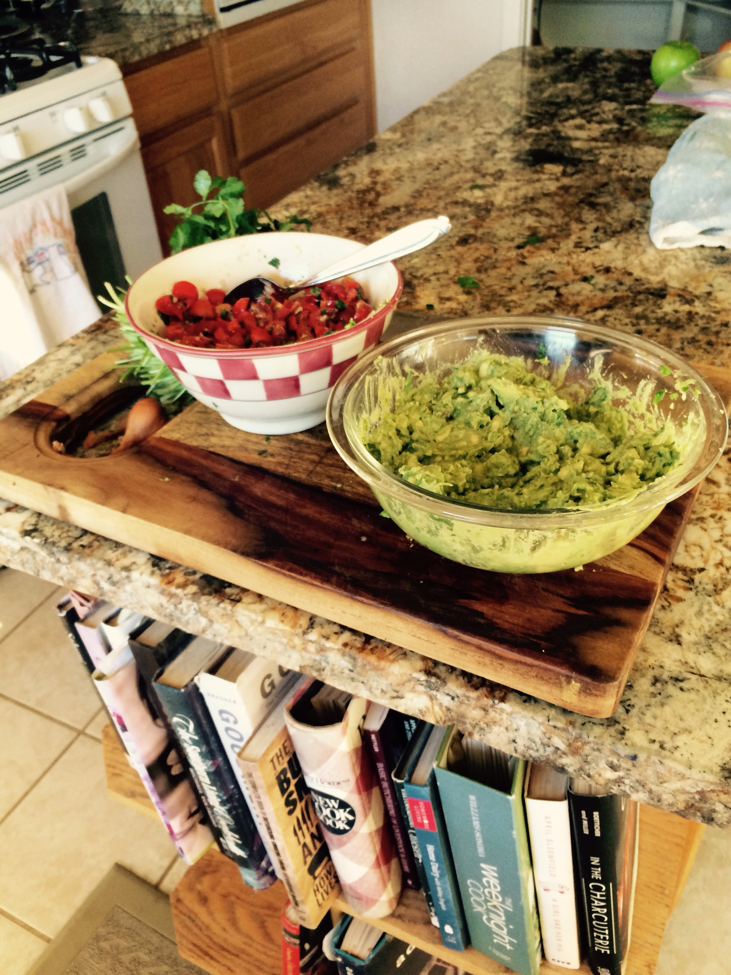 Made fresh salsa and guacamole to compliment the chili verde