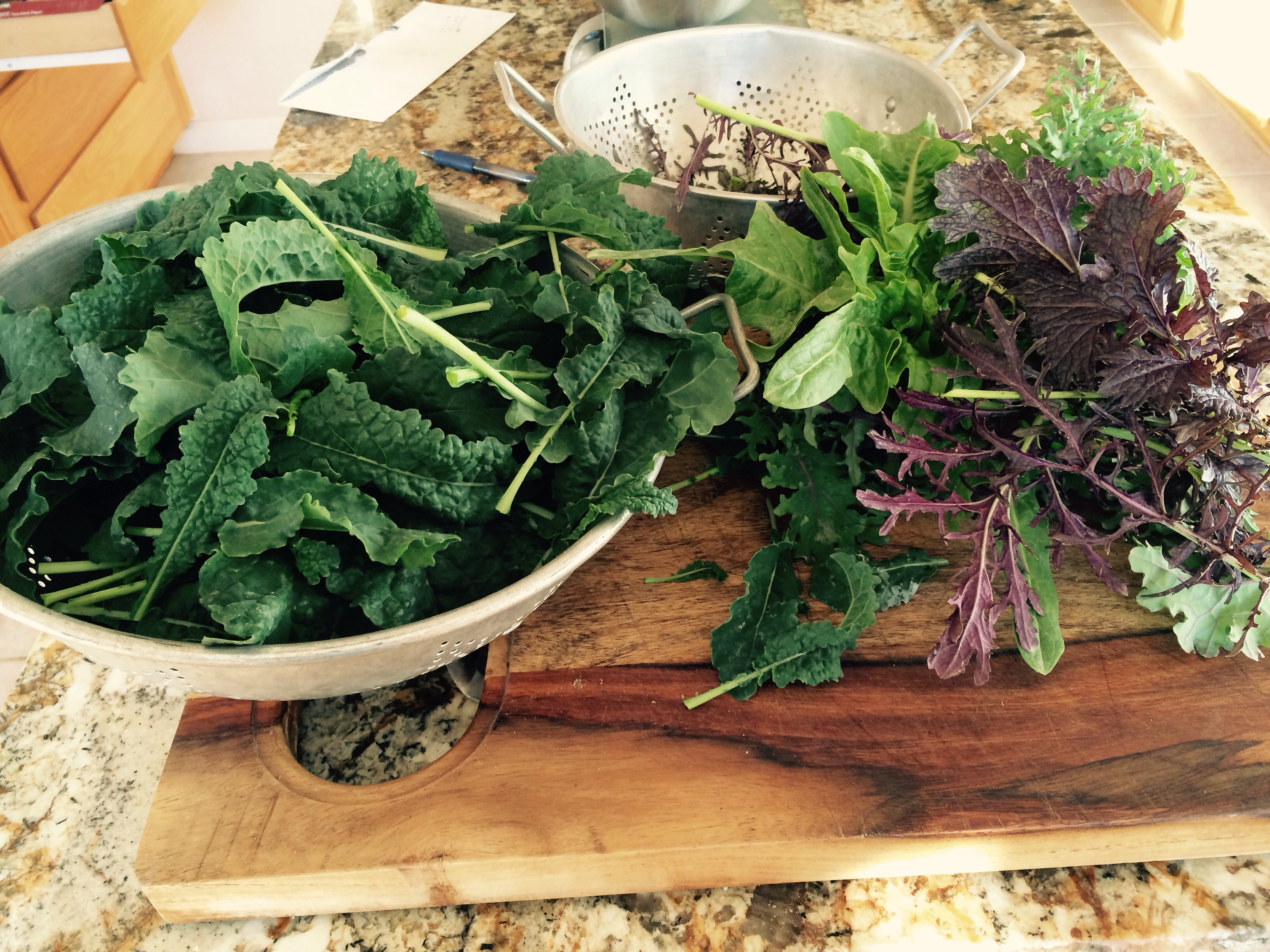 Chef Susan ordered fresh farm winter greens and pastured eggs keeping it local