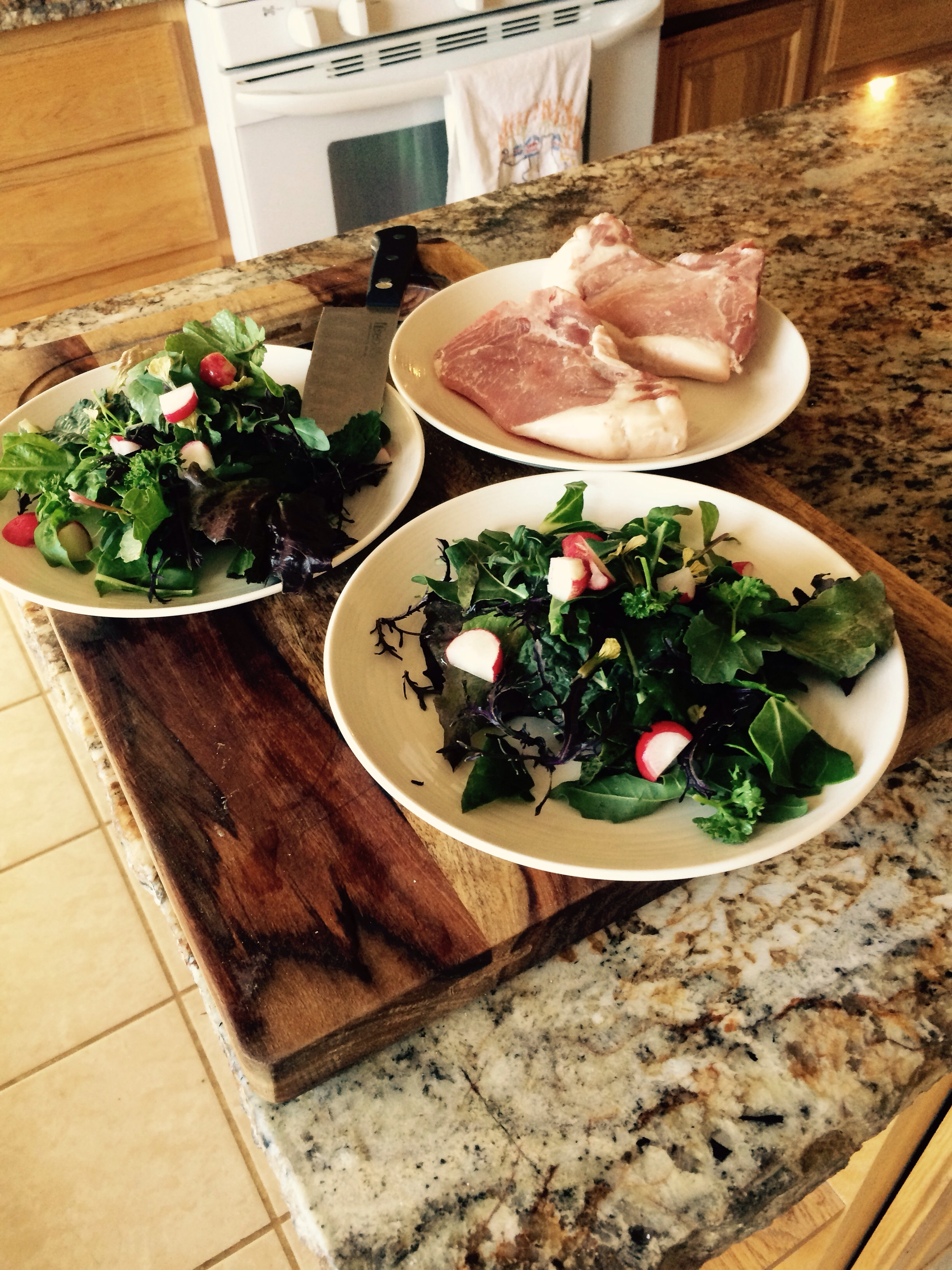 100 percent farm food winter greens and farm fresh red wattle pork chops cannot compare