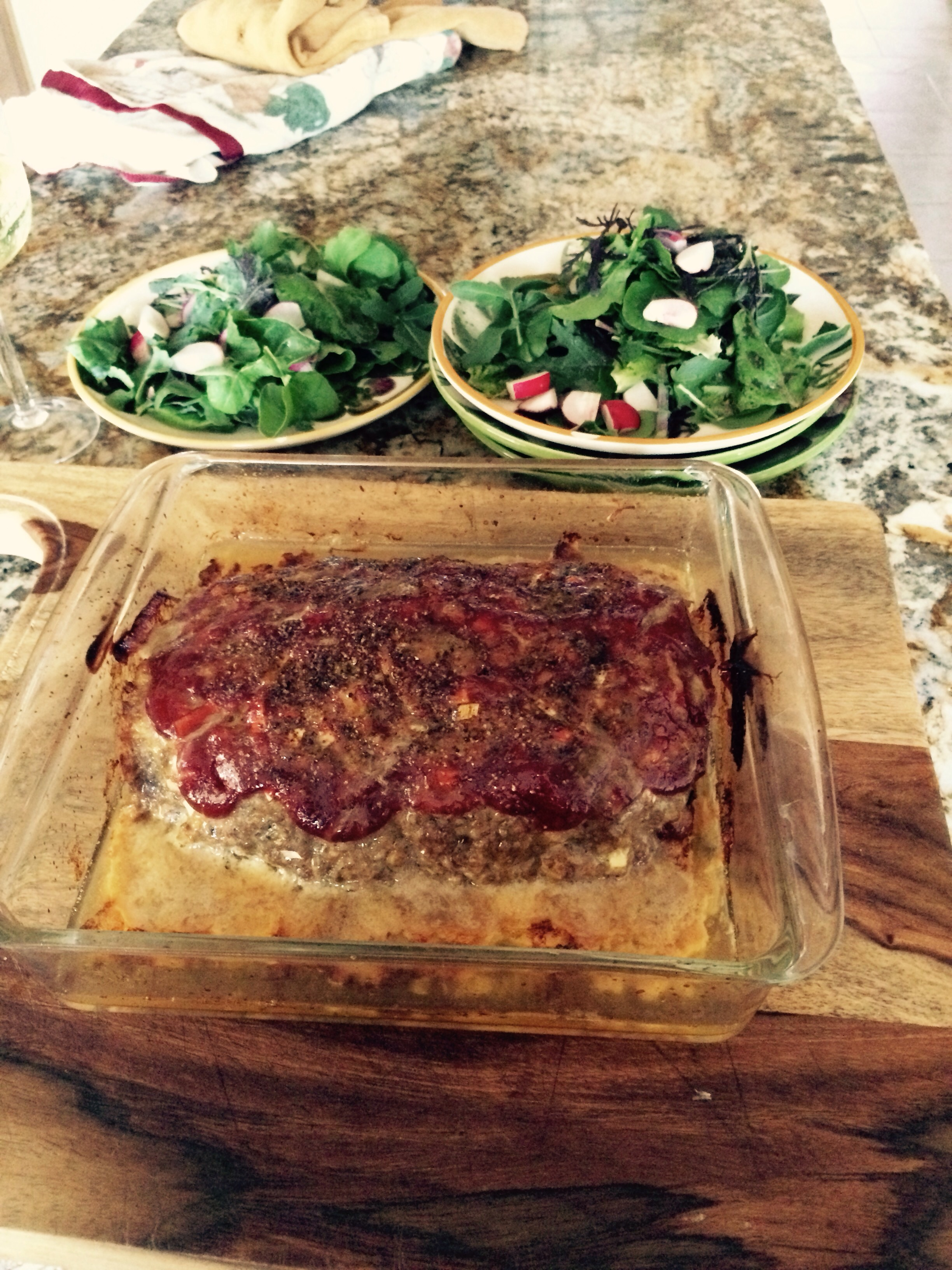 Red wattle infused meat loaf with farm greens