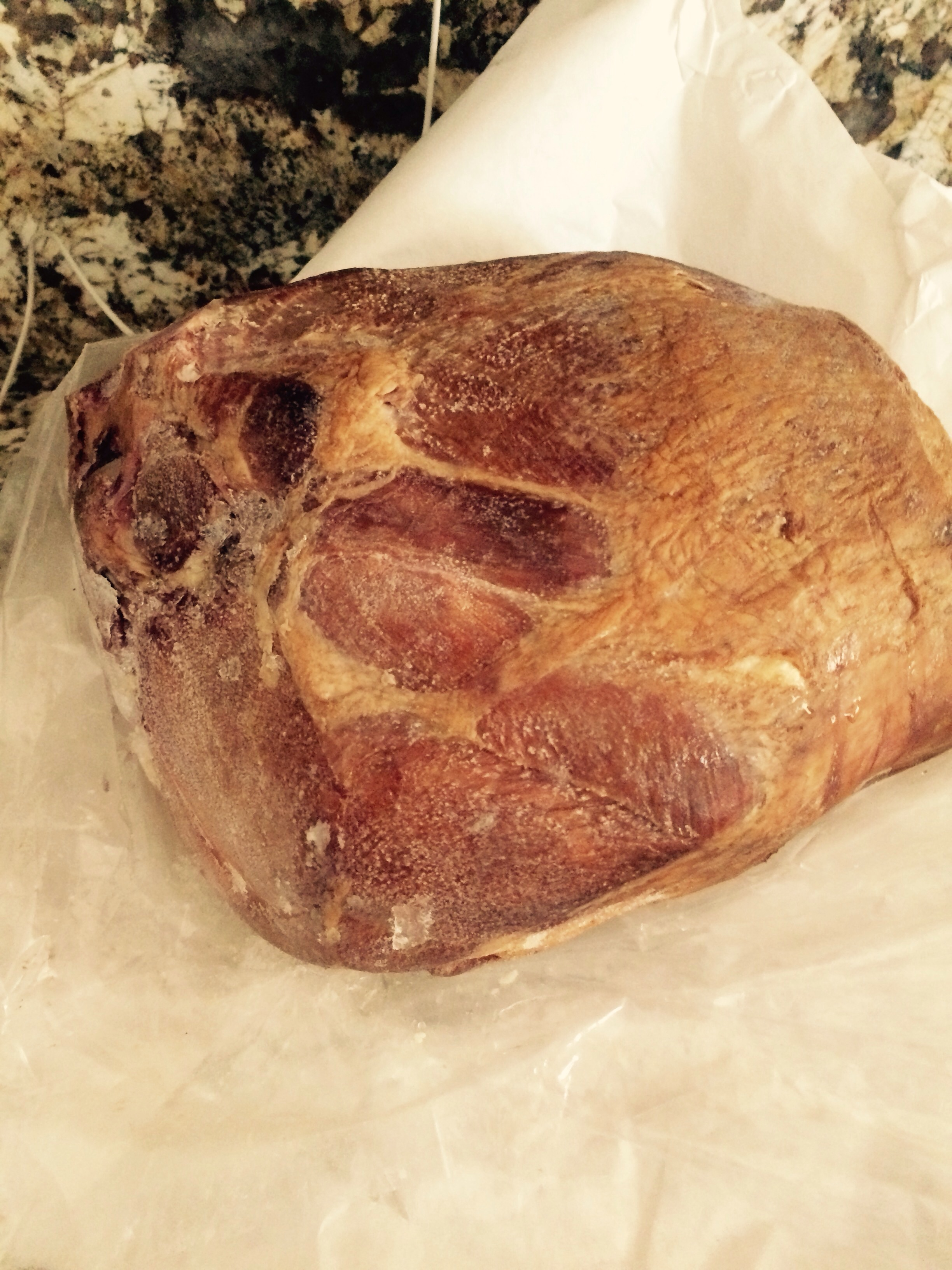 We had this ham smoked from one of our red wattle pigs