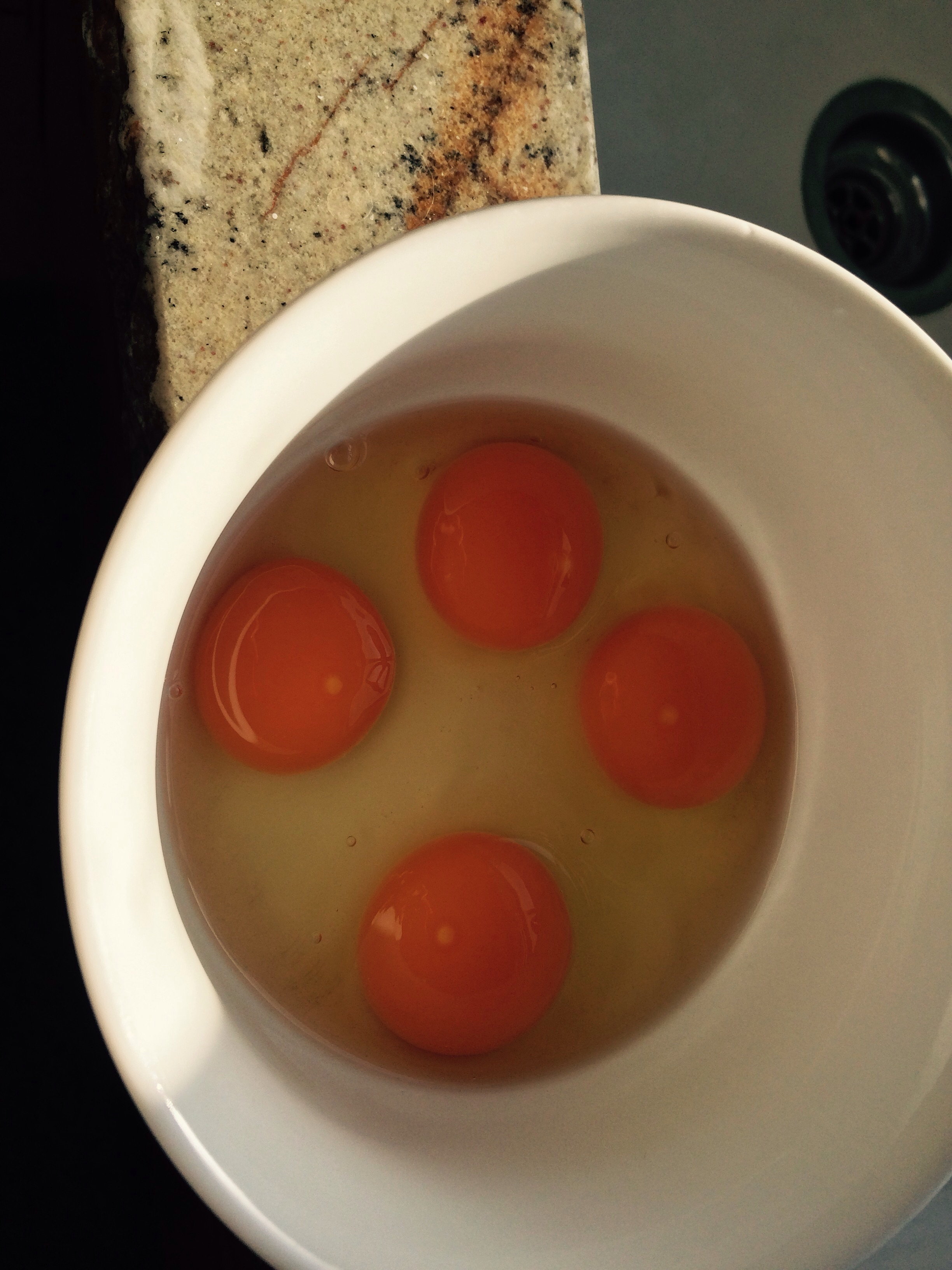 These eggs are so rich and creamy unlike chickens geania hens lay eggs twice a year for a few weeks at a time