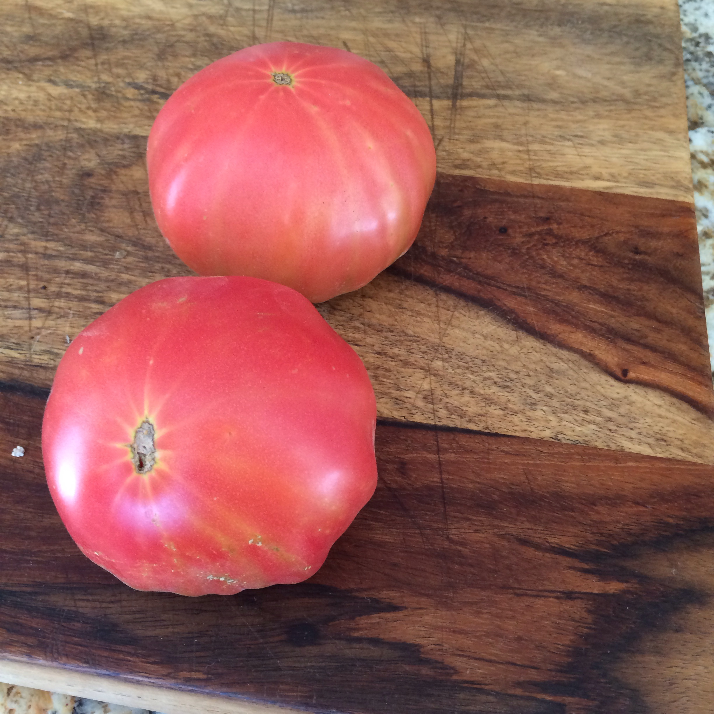 Yummy we have our bio dynamic brandy wine pink tomatoes the first of many to ripen