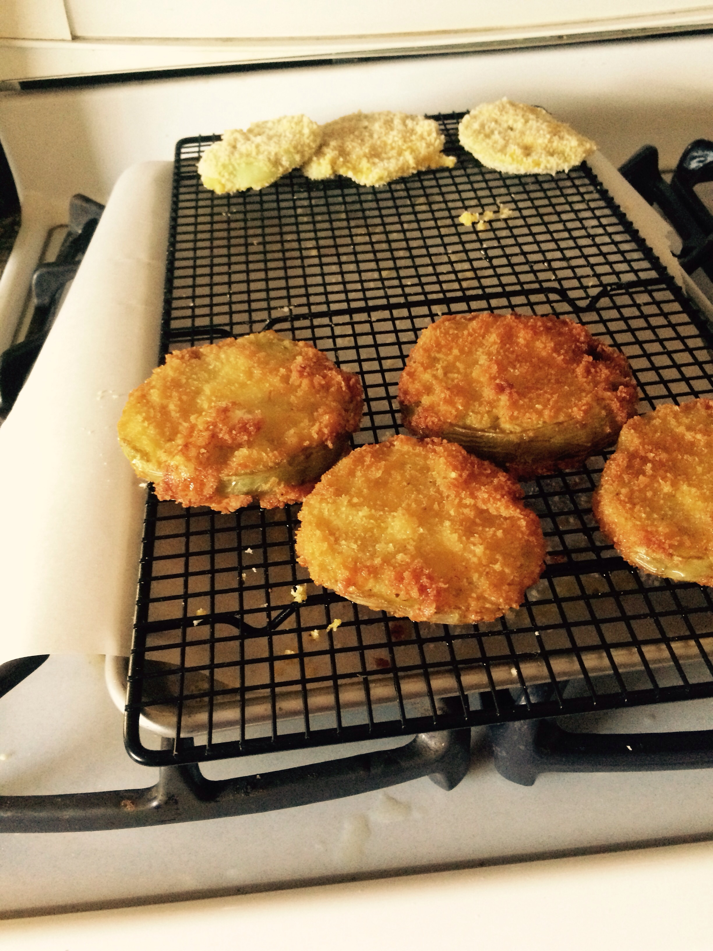 Yikes never made these but had some green tomatoes that came off when picking ripe heirloom tomatoes